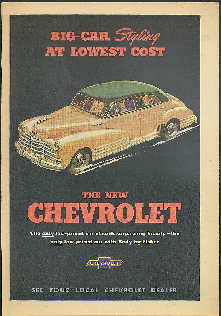 Big-Car Styling at Lowest Cost Chevrolet ad 1947