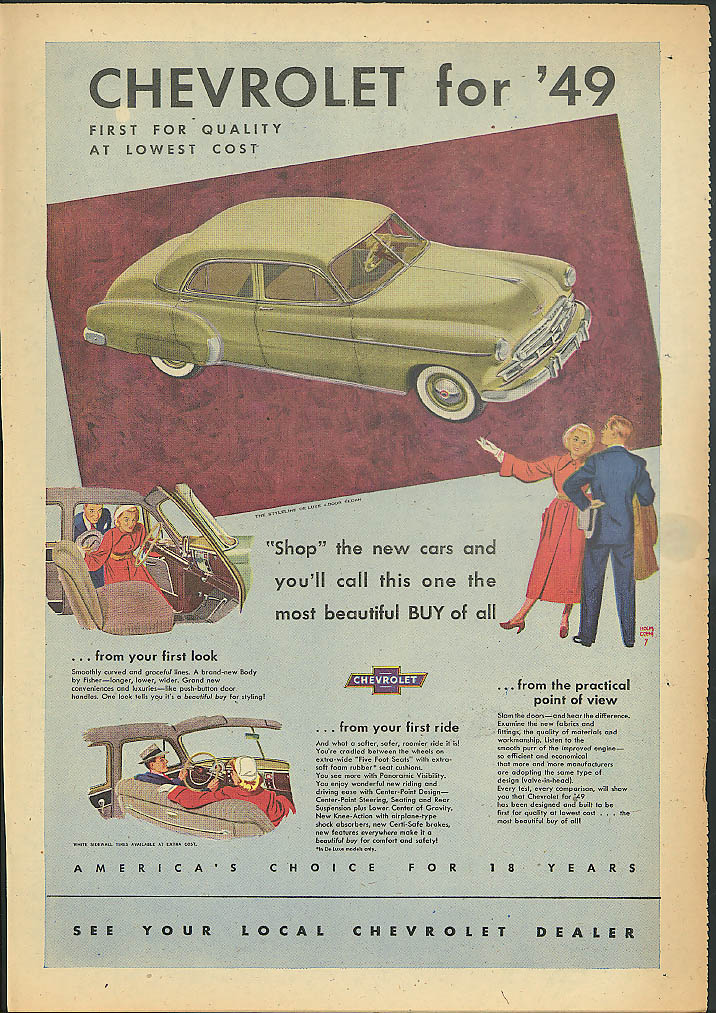 Shop the new cars & you;ll call this one best buy Chevrolet ad 1949