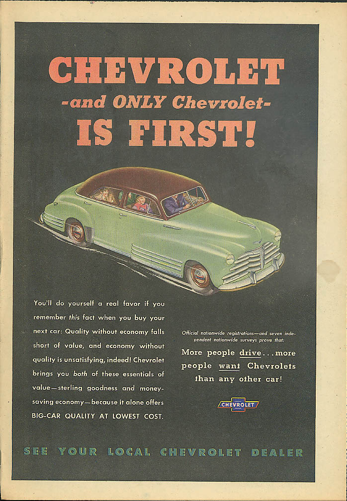 Chevrolet and ONLY Chevrolet - is First! Ad 1948