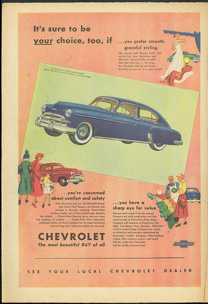 It's sure to be YOUR choice, too Chevrolet Fleetline De Luxe Sedan ad 1949