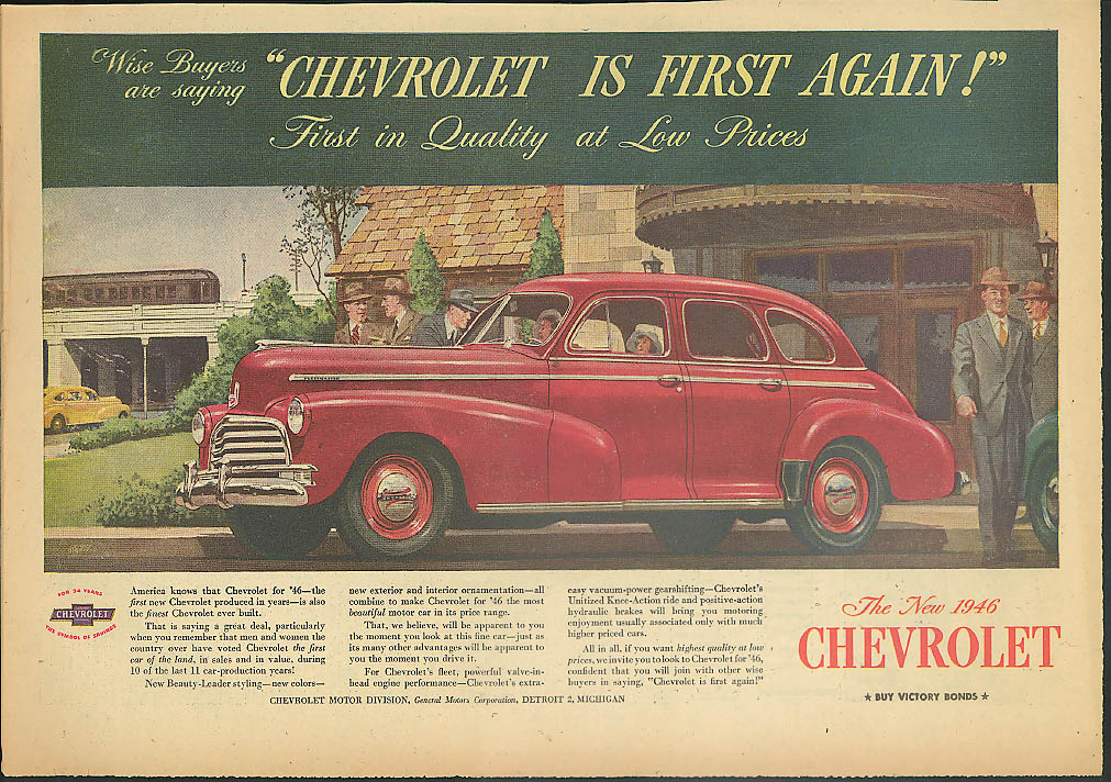 Wise Buyers say Chevrolet is First Again! Ad 1946 1-page version