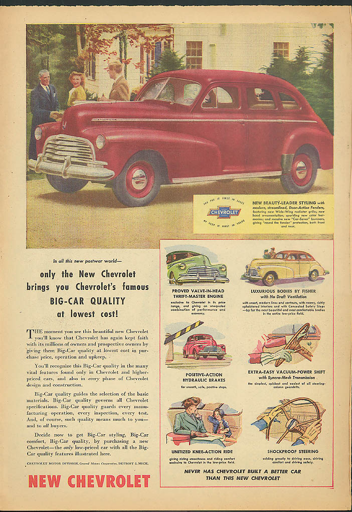 Only the New Chevrolet bring's you Big-Car Quality at lowest costs! Ad 1946