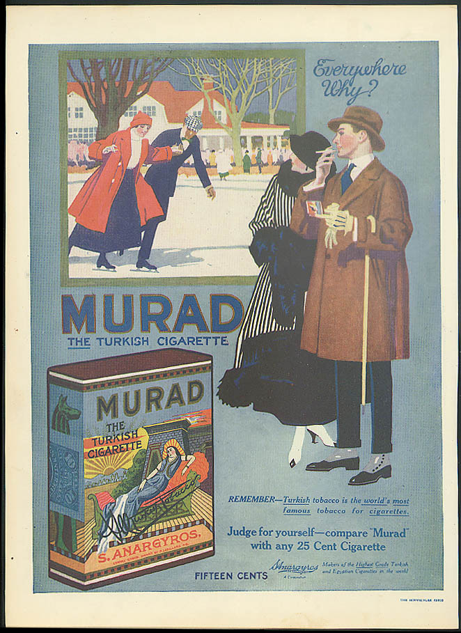 Murad THE Turkish Cigarette ad 1917 couples ice skating on the pond