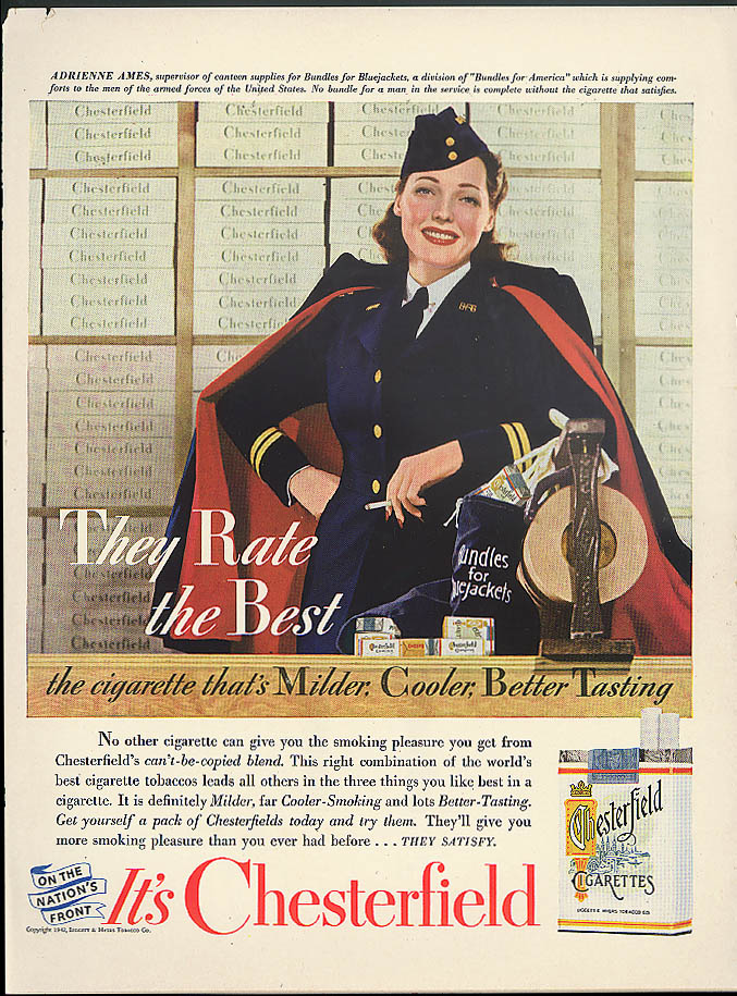 Adrienne Ames Bundles for Bluejackets Chesterfield Cigarettes ad 1942