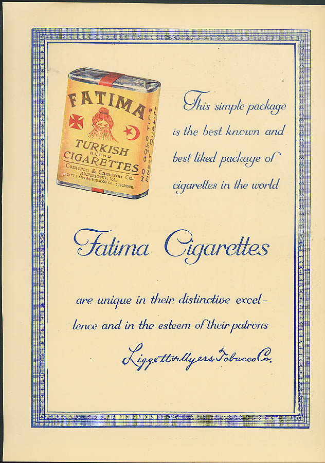 This simple package of best known & liked Fatime Turkish Cigarettes ad 1915