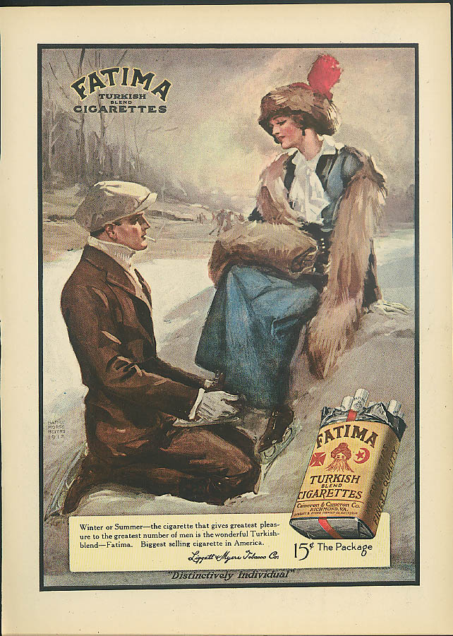 Fatima Turkish Cigarettes ad 1913 ice skating Harry Morse Meyers art