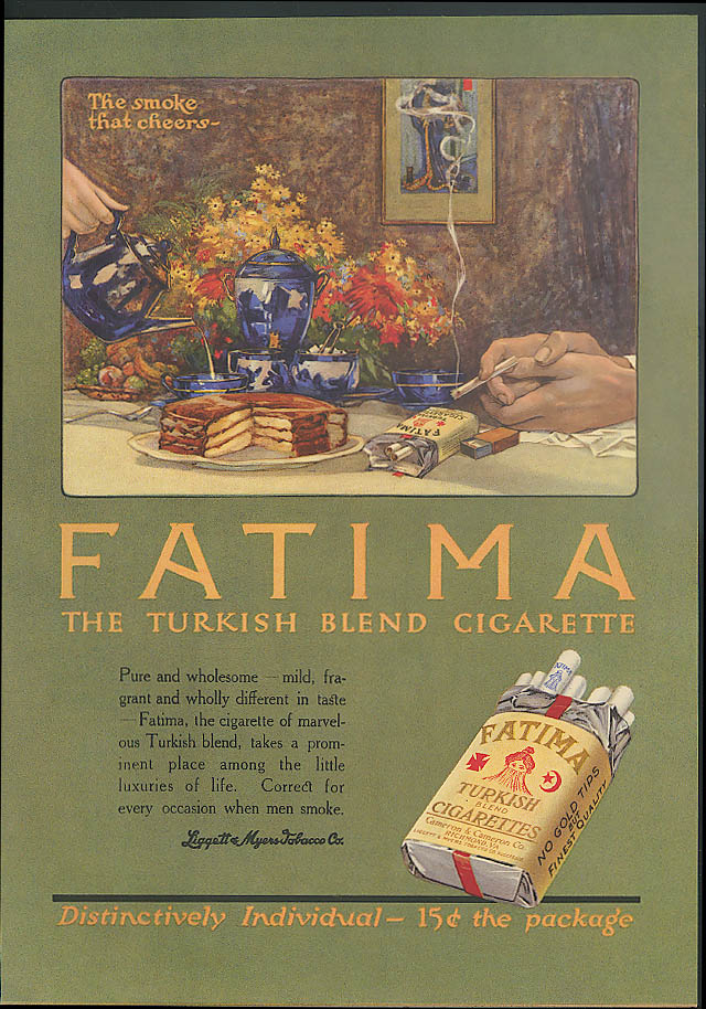 Fatima Turkish Cogarettes ad 1914 The smoke that cheers