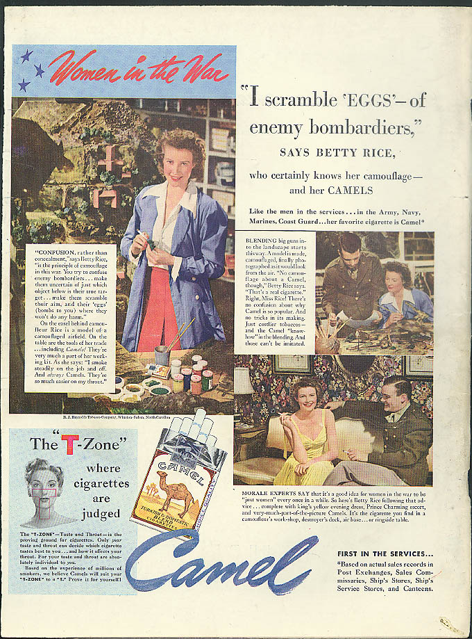 Image for Women in the War Betty Rice Camouflage Colorist Camel Cigarettes ad 1942