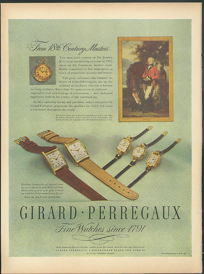 From 18th Century Masters Girard-Perregaux Wrist Watch ad 1946