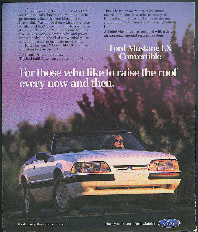 Image for For those who like to raise the roof Ford Mustang LX Convertible ad 1990