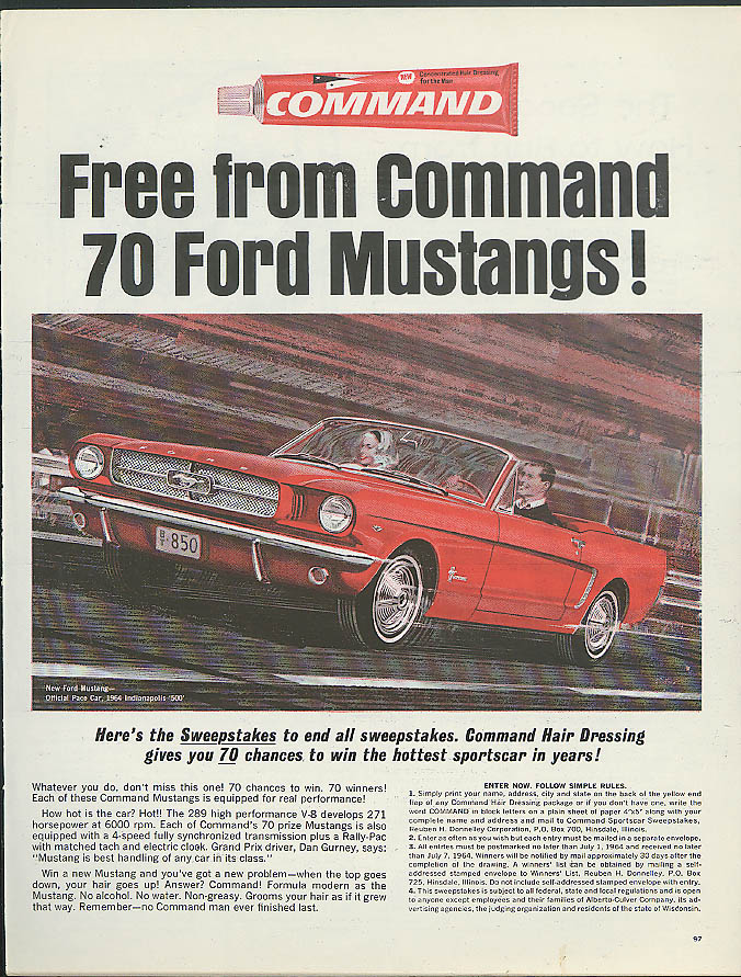 Image for Free from Command Harddressing 70 Ford Mustangs Sweepstakes ad 1964