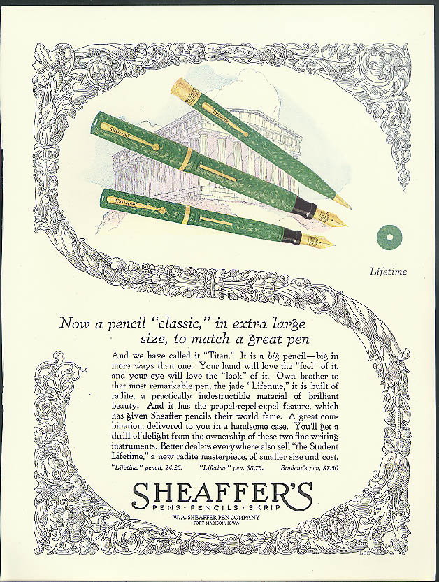 A pencil classic in extra large size to match Sheaffer's Fountain Pen ad 1925