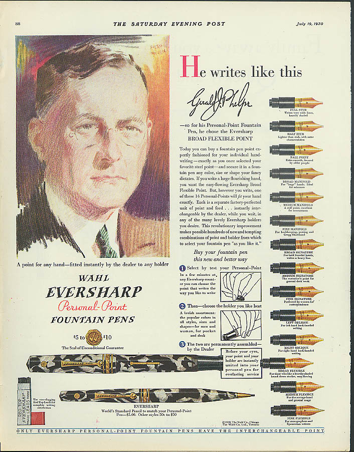 Image for Wahl Eversharp Personal-Point Fountain Pens ad 1930