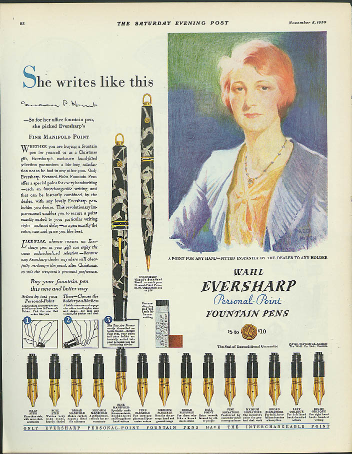 Image for She writes like this Wahl Eversharp Personal Point Fountain Pens ad 1930