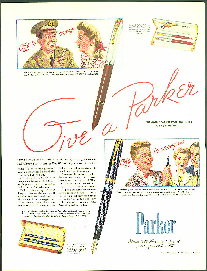 Image for Give a Parker off to camp to campus Fountain Pen ad 1942