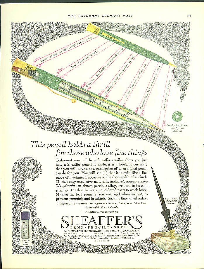 Image for This pencil holds a thrill Sheaffer's Mechanical Pencil ad 1928