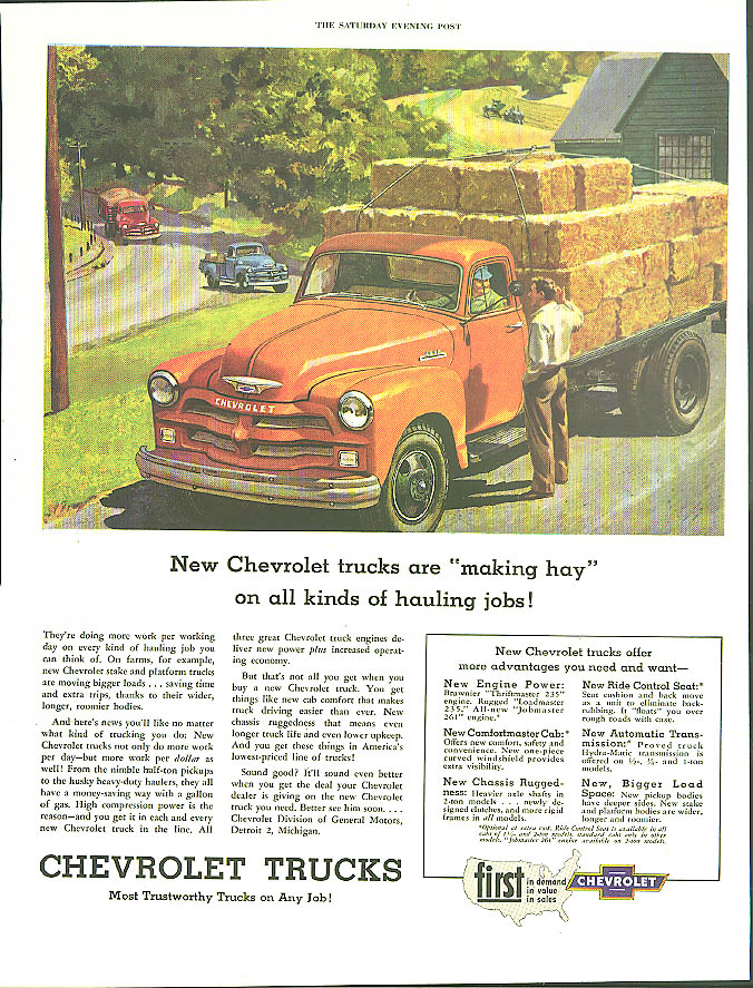 Making hay on all kinds of hauling jobs Chevrolet Trucks ad 1954