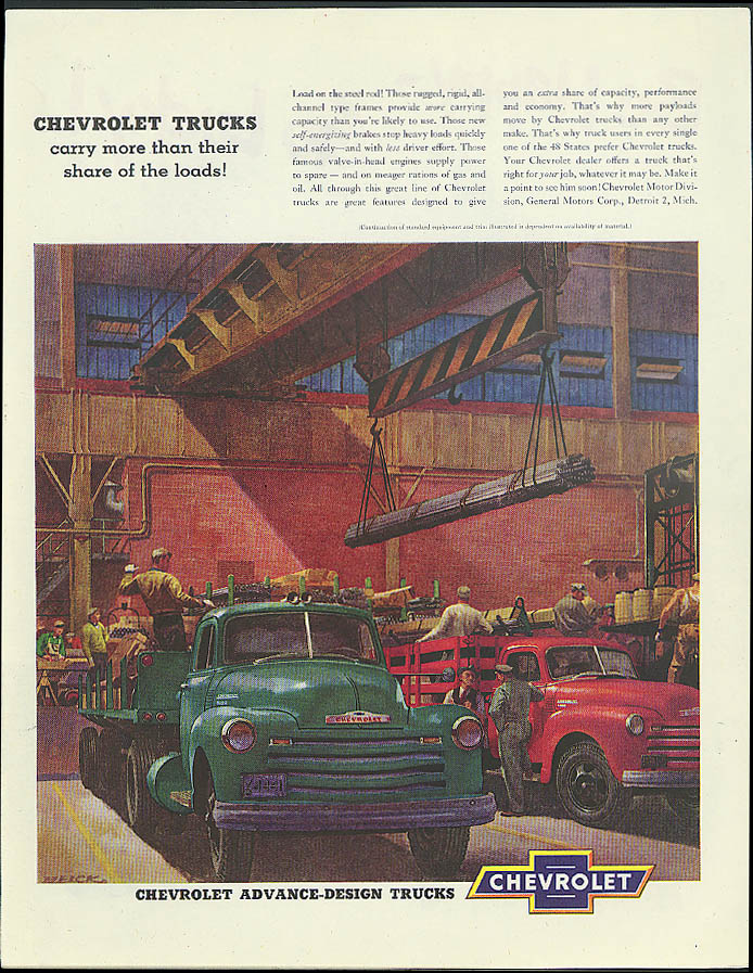 Carry more than their share of the loads! Chevrolet Trucks ad 1951 Helck art