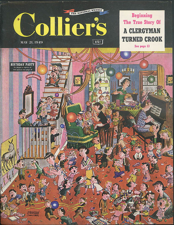 Berenstains Birthday Party COLLIER'S Cover ONLYad 5/21 1949