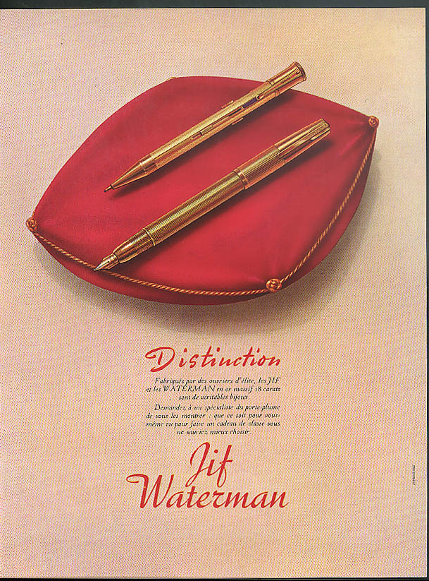 Distinction Waterman Jif Fountain Pen ad 1950 in French