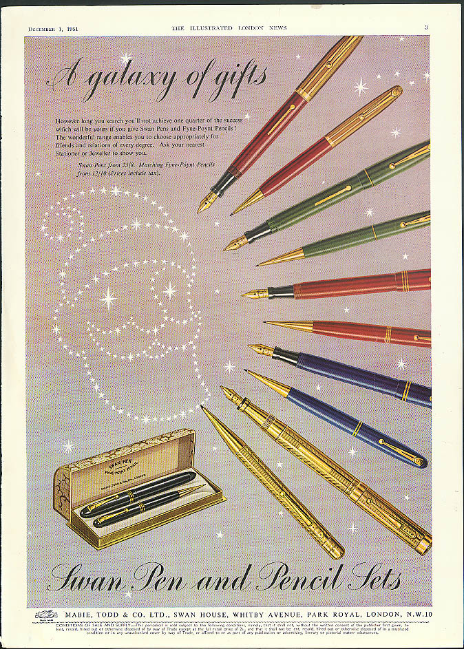 A galaxy of gifts Swan Pen & Pencil Sets Christmas ad 1951