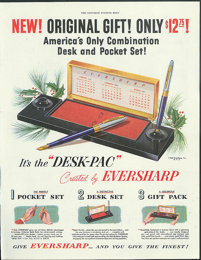 Image for New! Original Gift! Only $12.75! Eversharp Desk-Pac Fountain Pen set ad 1950
