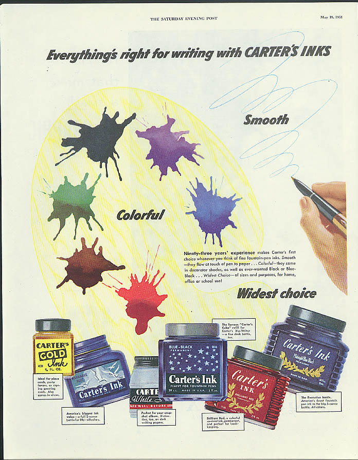 Image for Everything's right for writing with Carter's Inks ad 1951