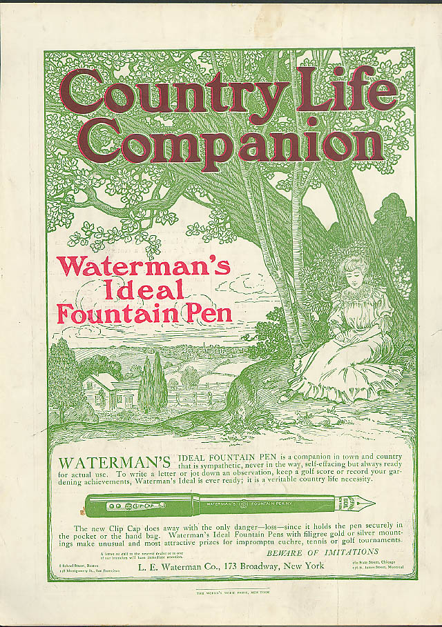 Image for Waterman's Ideal Fountain Pen companion in town & country ad 1905