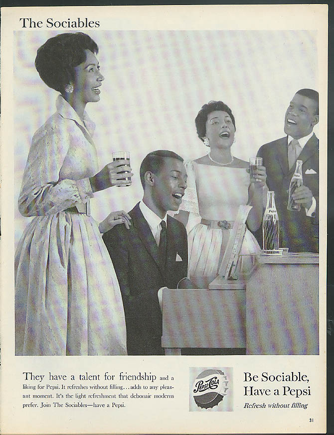 A talent for freidnship Pepsi-Cola ad 1959 Negro group around piano