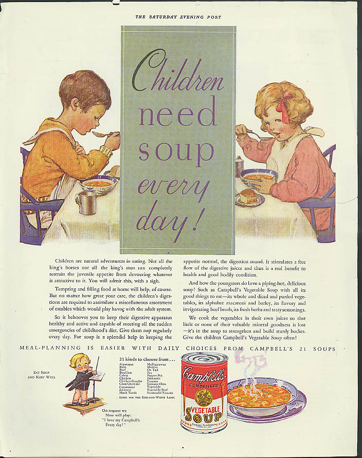 Children need soup every day! Campbell's ad 1932 Jessie Willcox Smith
