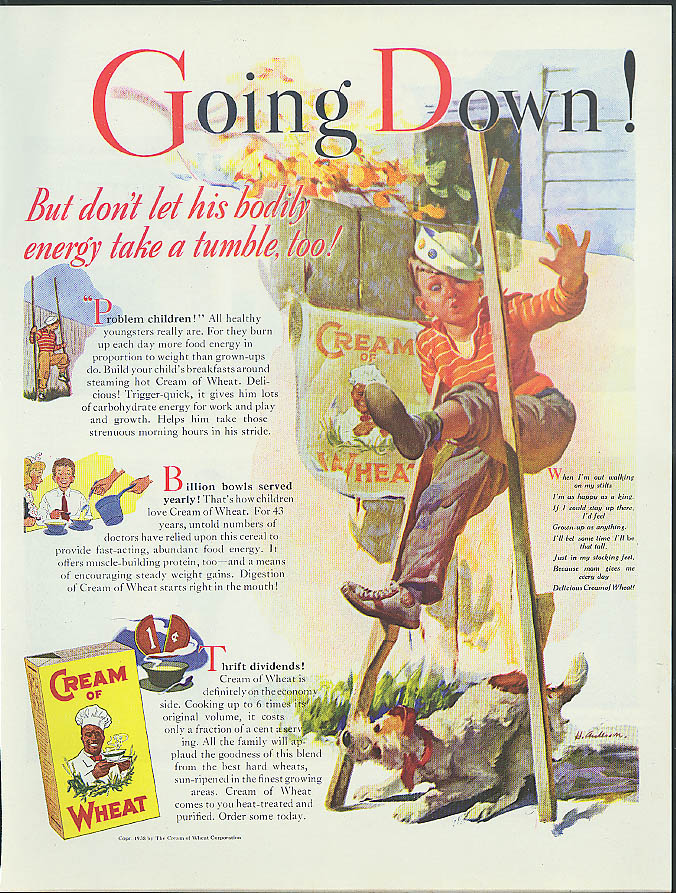 Going Down! Cream of Wheat cereal ad 1938 boy falls off stilts