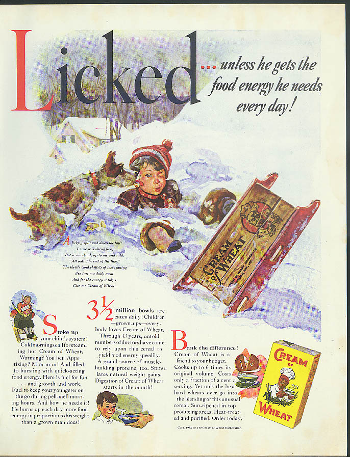 Licked! Cream of Wheat Cereal ad 1938 boy licked by terrier  - crashed sled