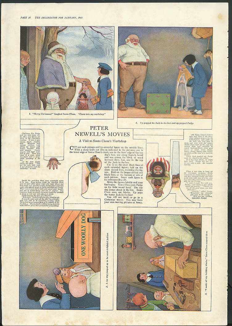 Peter Newell's Movies cut-out Santa Claus Workshop magazine page 1915