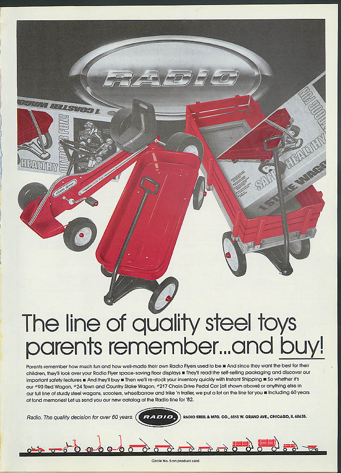 Quality steel toys parents remember Radio Flyer Wagon & Pedal Car ad 1982