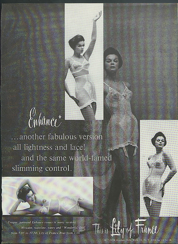 Another fabulous version all lightness & lace Enhance Girdles ad 1960
