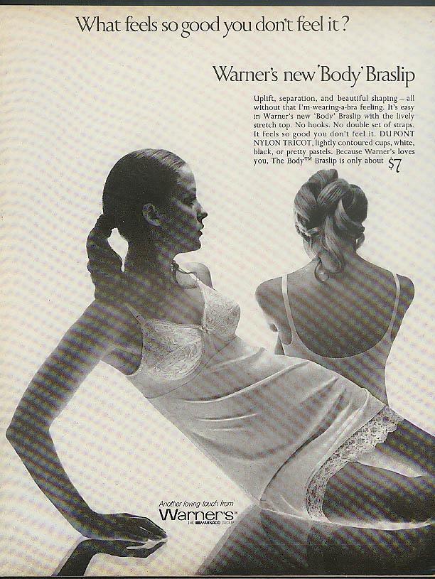 Feels so good you don't feel it Warner's Body Braslip ad 1969