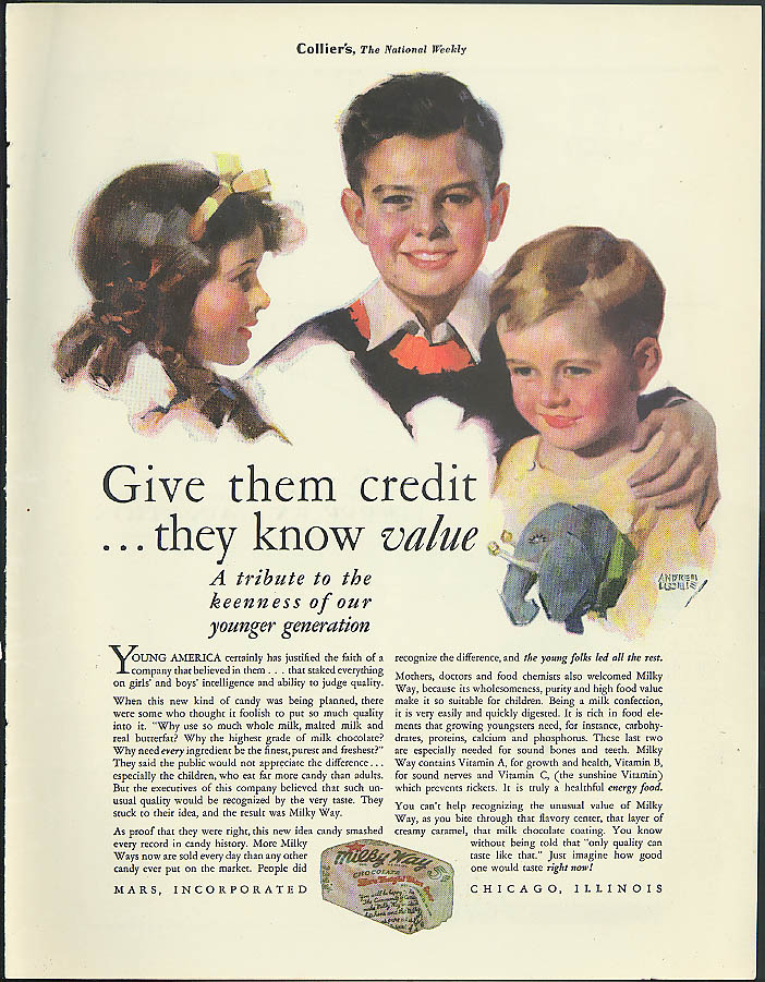 Give them credit - they know value kids choose Milky Way Candy Bar ad 1931`