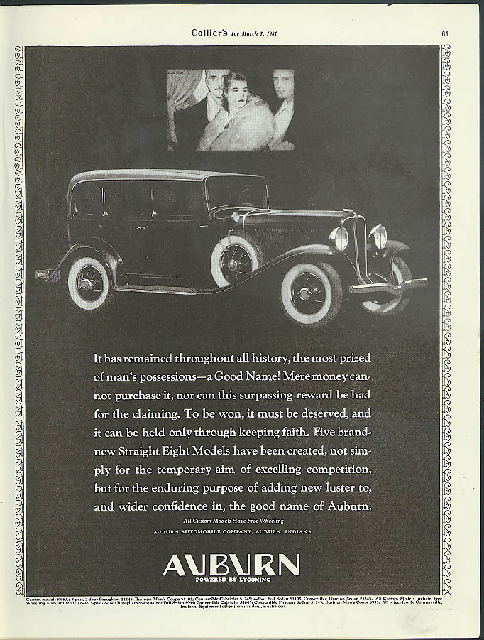 It has remained throughout all history Auburn Straight Eight ad 1931