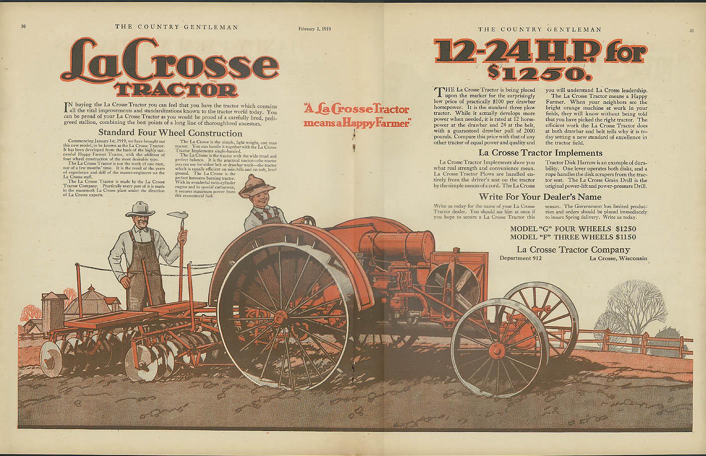 La Crosse Tractor 12-24 H P for $1250 ad 1919