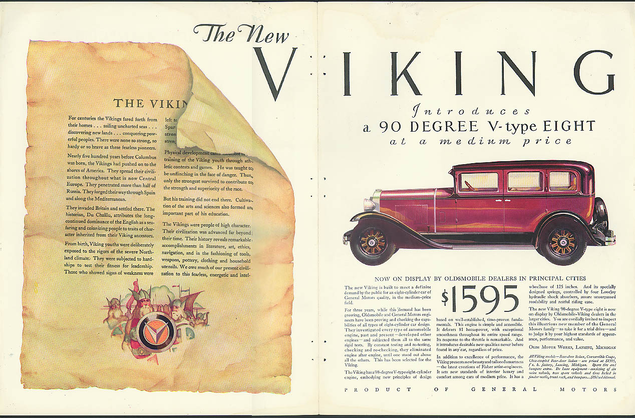 Introducing a 90 Degree V-type Eight Viking by Oldsmobile ad 1929