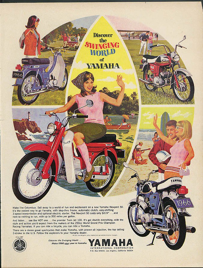 Discover the Swinging World of Yamaha Newport 50 Motorcycles ad 1966
