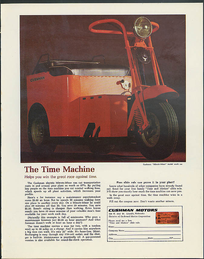 Image for The Time Machine helps you win Cushman Motors Minute-Miser Work Car ad 1968