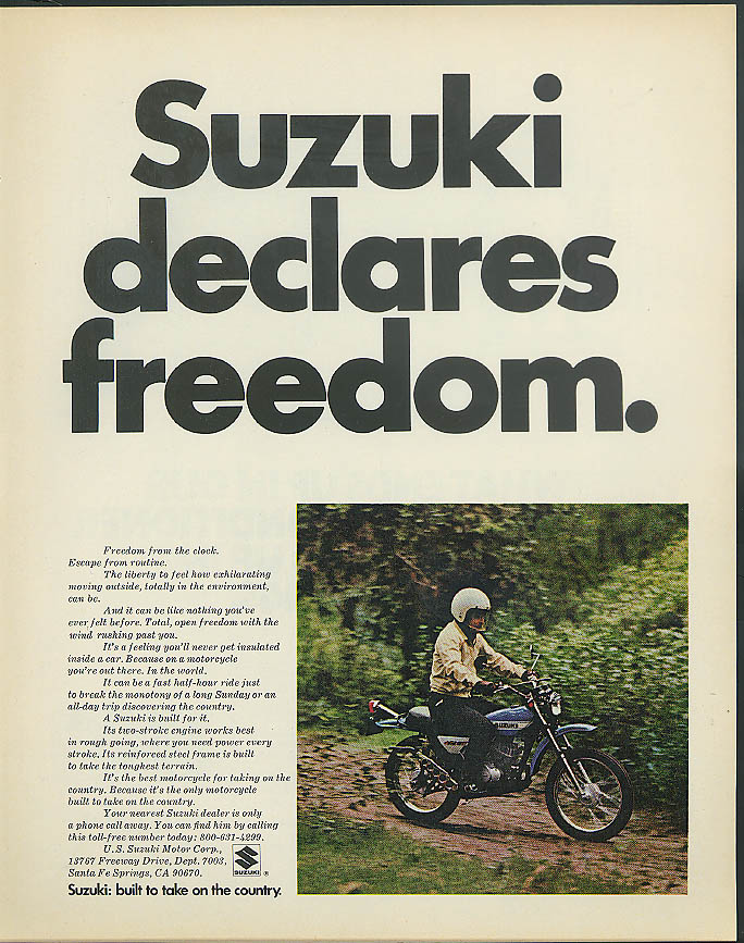 Image for Sukzuki declares freedom - built to take on the country motorcyclead