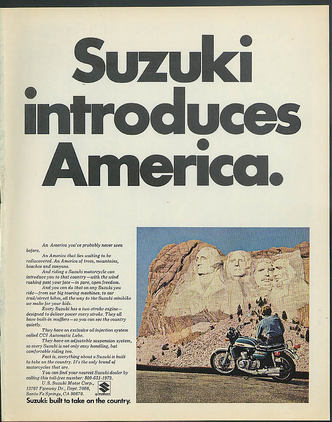 Image for Suzuki introduces America GT 750J Motorcycle ad 1972