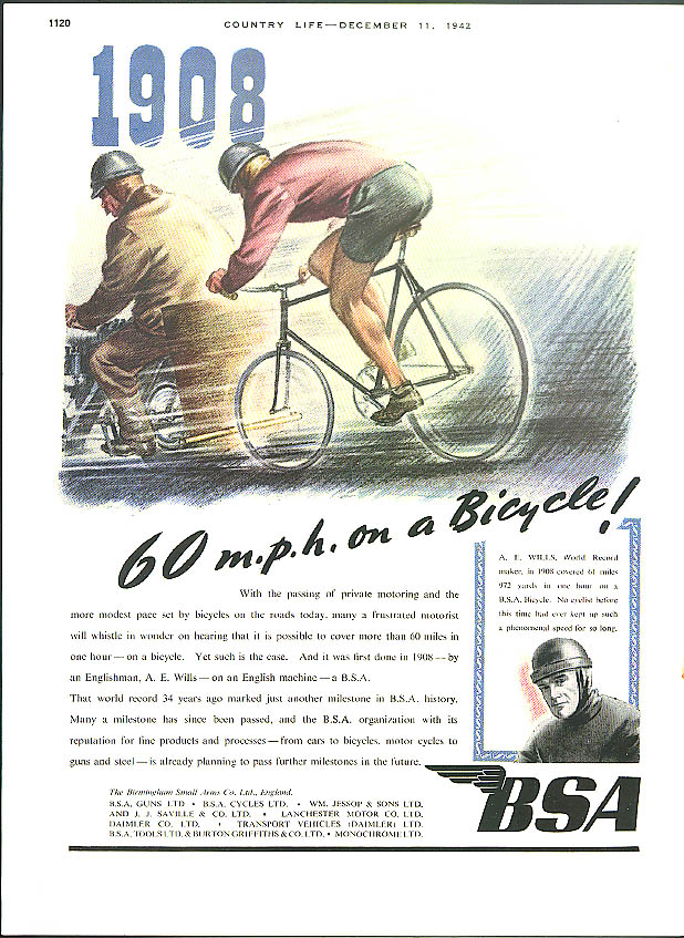 1908 - 60 mph on a Bicycle! BSA Motorcycle ad 1942