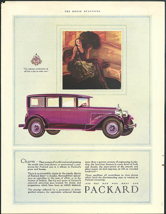 Charm - women of wealth & social position show preference Packard ad 1927