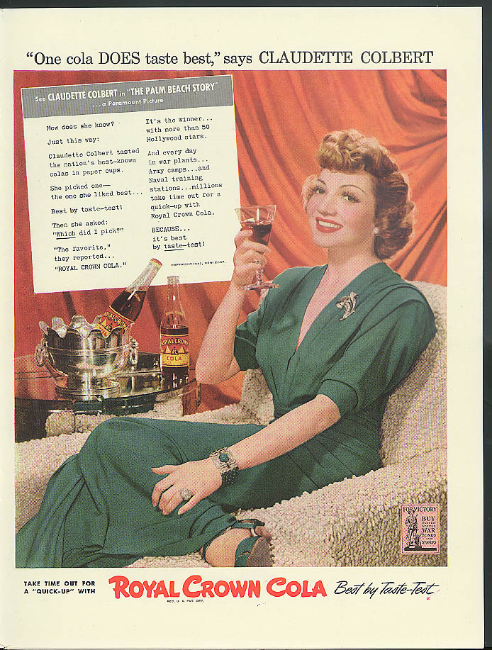 Claudette Colbert for Royal Crown Cola /  Milky Way Candy Bar ad 1942 sailors
