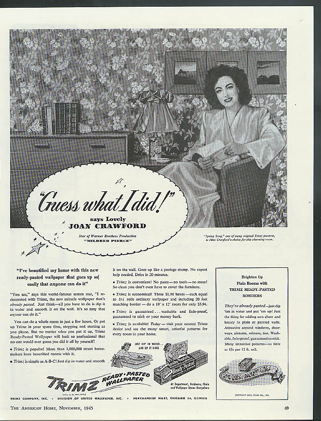 Joan Crawford for Trimz Ready-Pasted Wallpaper ad 1945