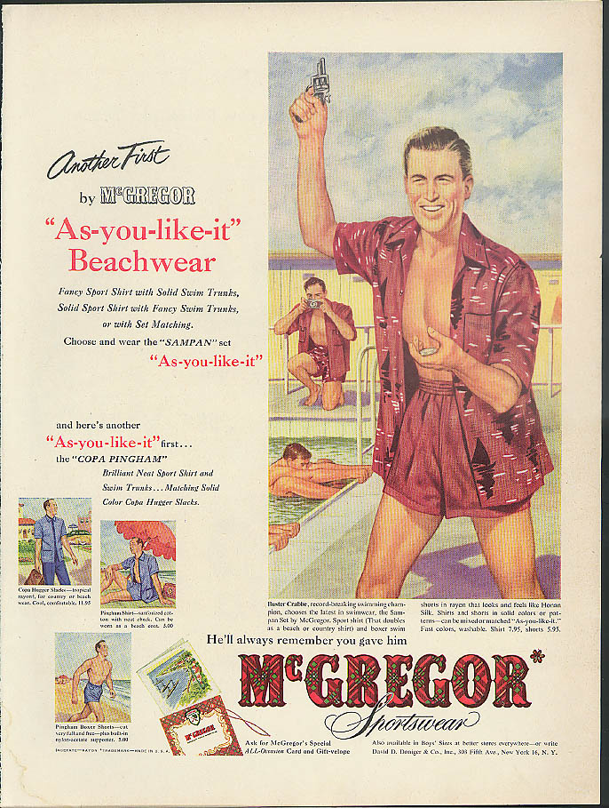 Another first Buster Crabbe for As-you-like-it Beachwear McGregor ad 1952