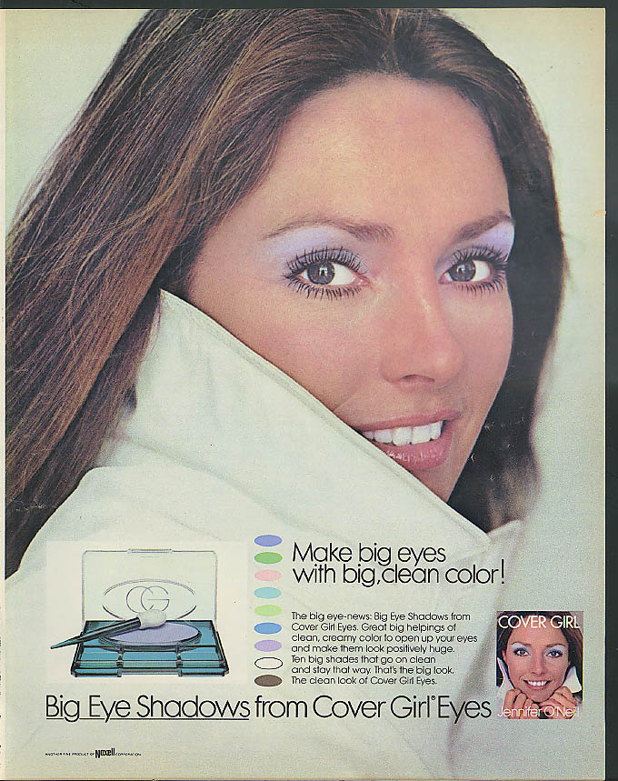 Big clean color Jennifer O'Neill for Big Eye Shadows from Cover Girl ad 1973